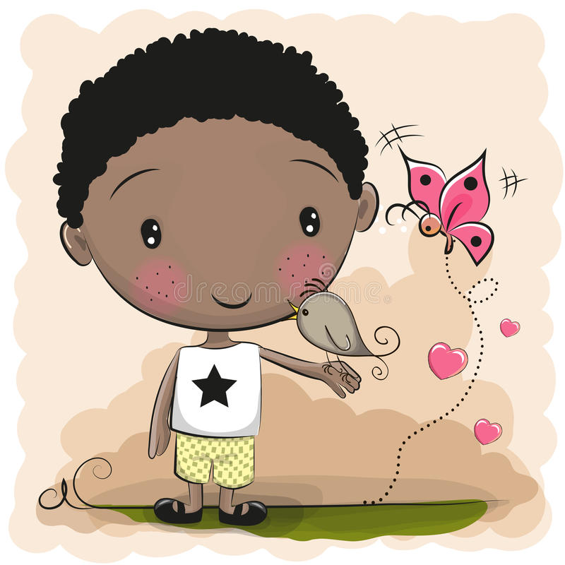 Cute Cartoon Boy. With a bird and butterfly stock illustration