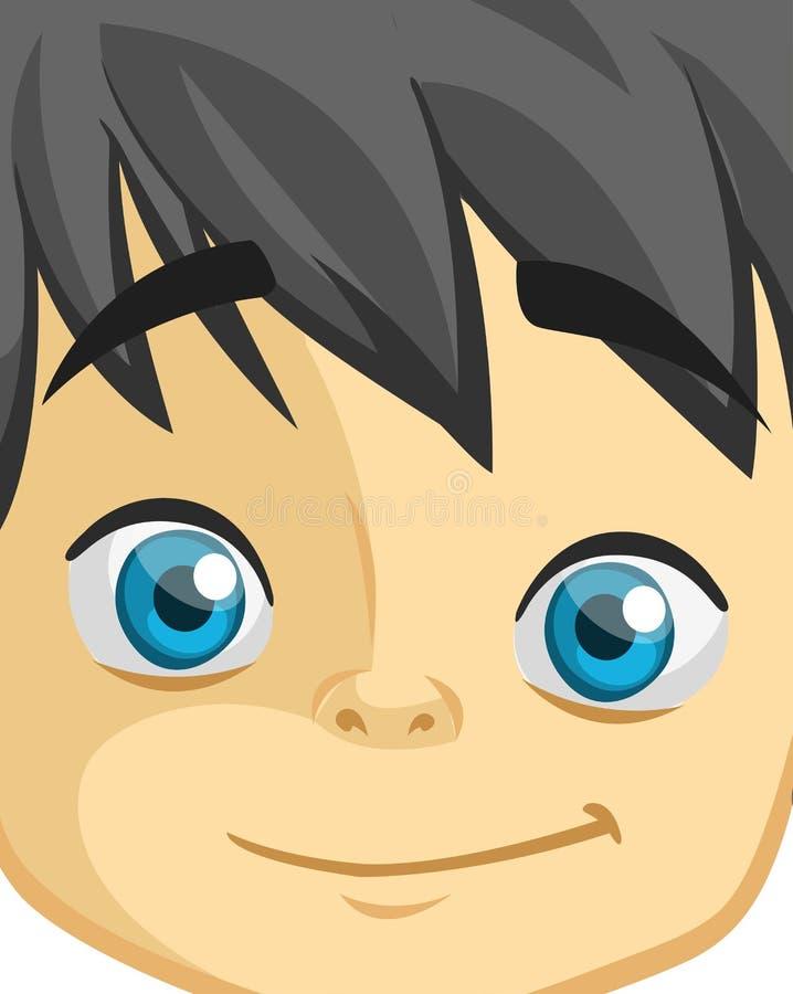 Cute cartoon boy face. Vector illustration of a little kid face avatar. Portrait of a boy smiling. stock illustration