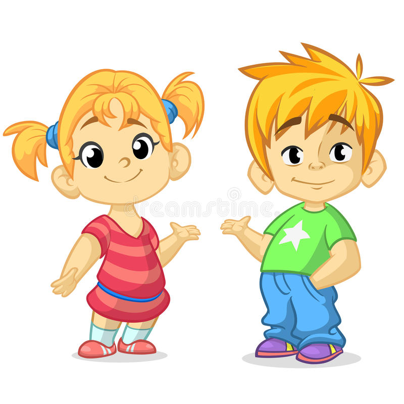 Cute cartoon boy and girl with hands up vector illustration. Boy and girl greeting design. Kids summer dress. Children vector. Ca. Sual style dressed children royalty free illustration