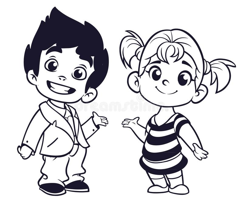 Cute cartoon boy and girl with hands up vector illustration vector illustration