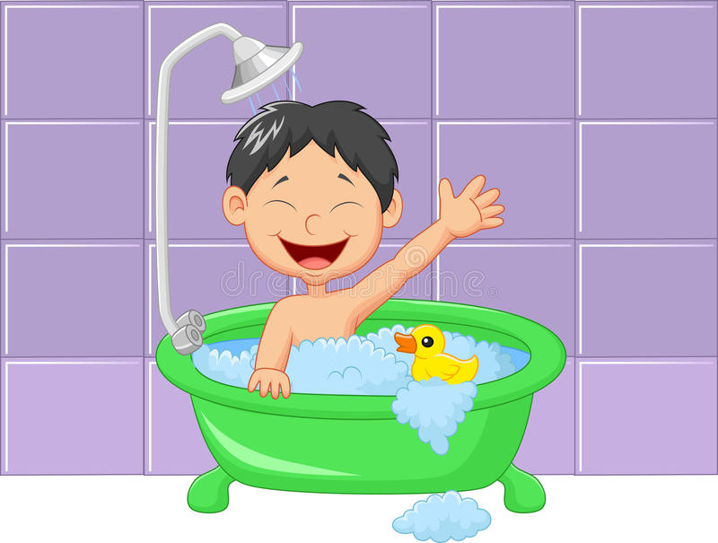 cute cartoon boy having bath stock vector illustration person taking a shower clipart boy taking a shower clipart