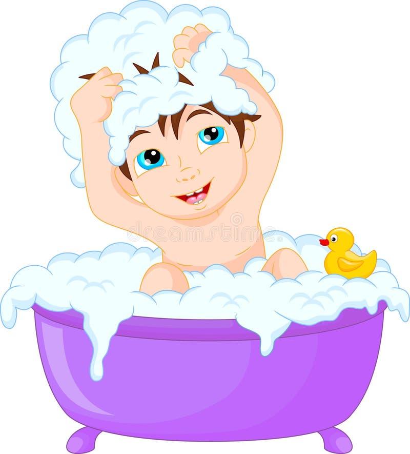 Cute Cartoon Boy Having Bath Stock Vector - Illustration ...