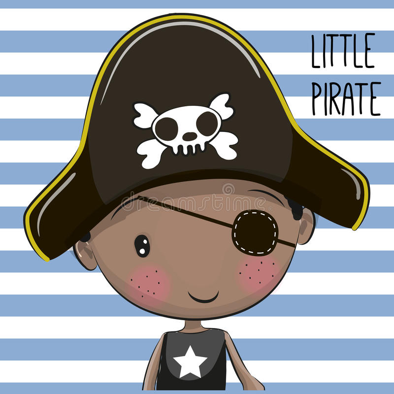 Cute Cartoon boy. In a Pirate hat royalty free illustration