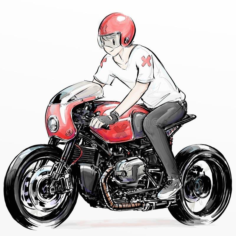 Cute Cartoon Boy Riding Motorcycle Stock Illustration ...