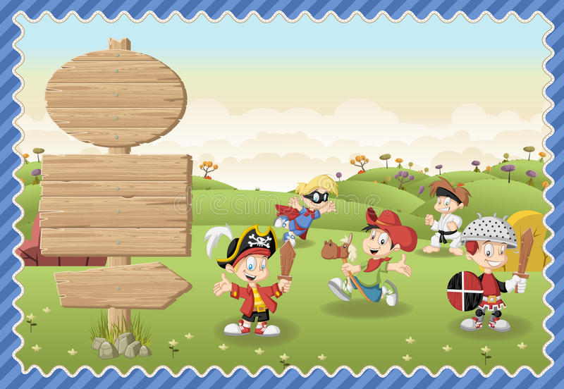 Cute cartoon boys wearing different costumes on a green park. stock illustration
