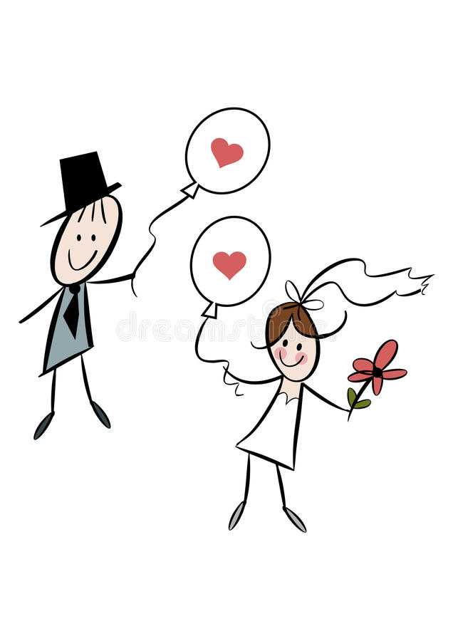 Cute cartoon bride and groom with balloons vector illustration
