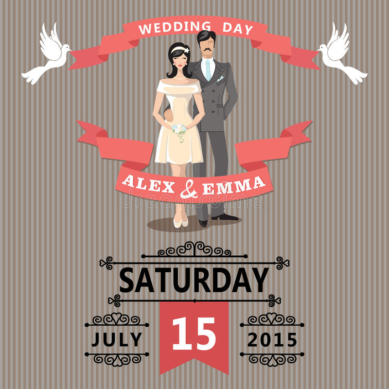 Cute Cartoon Bride And Groom.Retro Wedding Invitation Stock Vector ...