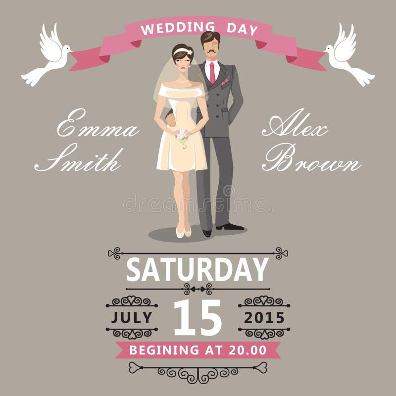 Cute Cartoon Bride And GroomWedding Invitation Stock Vector