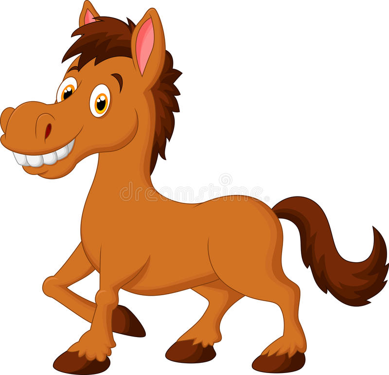 Cute cartoon brown horse stock illustration