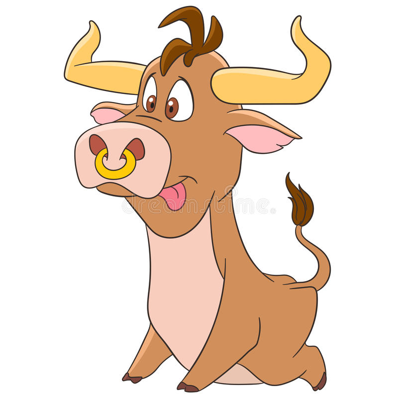 Cute cartoon bull stock images