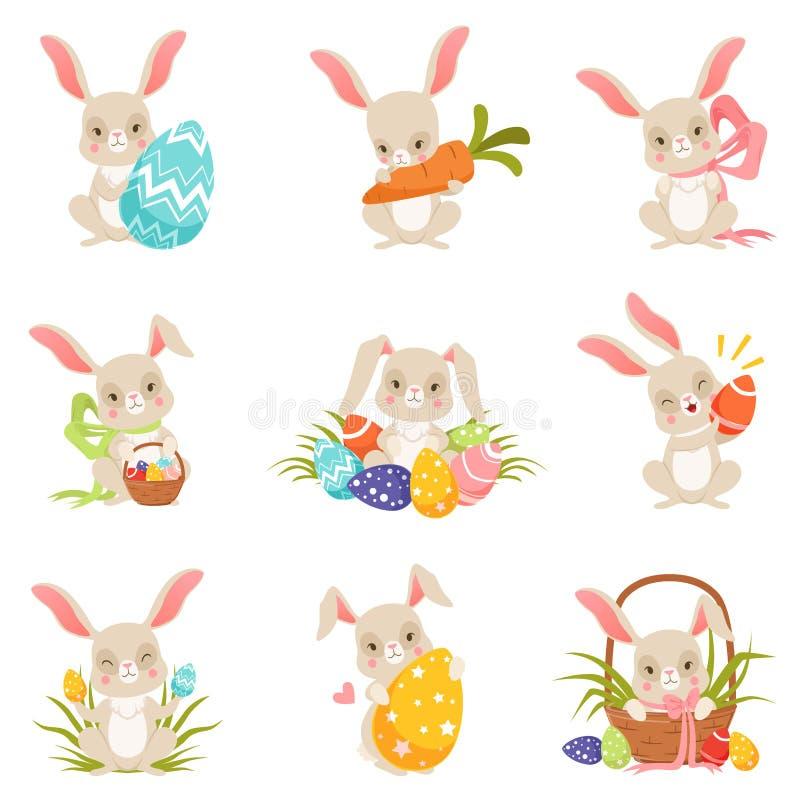 Cute cartoon bunnies holding colored eggs set, funny rabbit characters, Happy Easter concept cartoon vector vector illustration