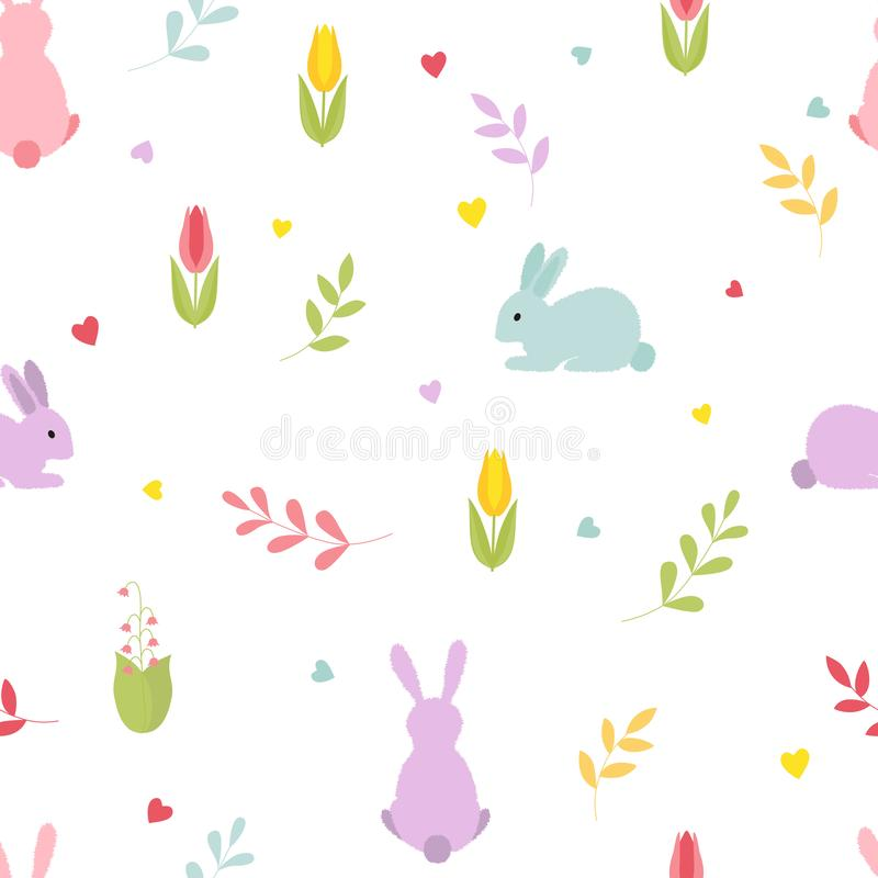 Cute cartoon bunnies with sprigs flowers, hearts. Seamless colorful pattern. royalty free illustration