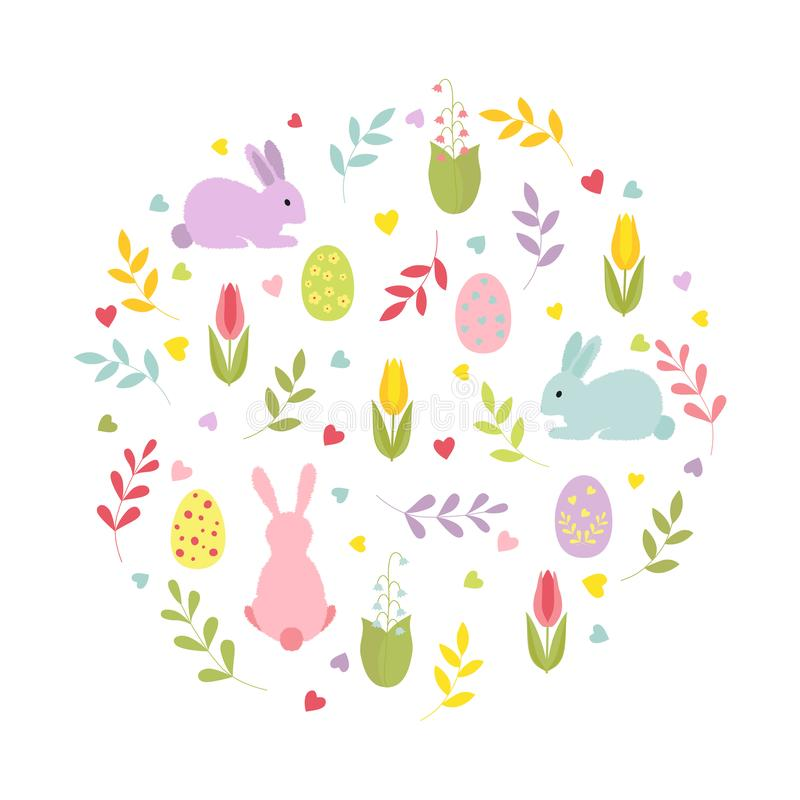 Cute cartoon bunnies, twigs, hearts, Easter eggs, flowers in a round composition. Isolated illustration. stock illustration