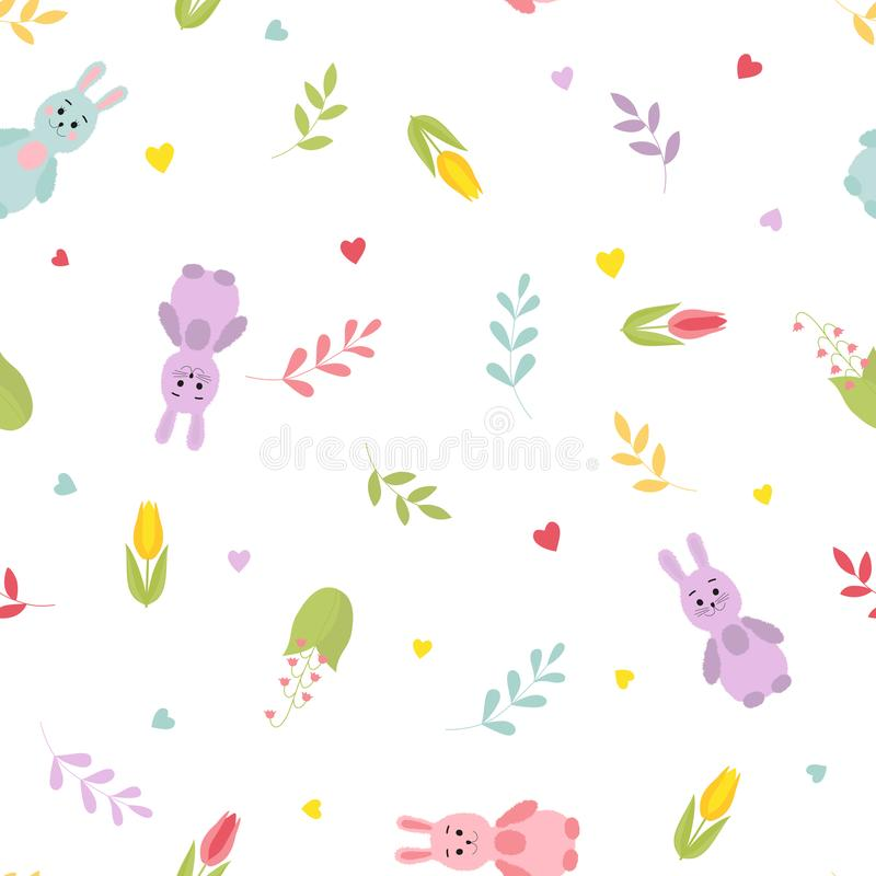 Cute cartoon bunnies, twigs, hearts, spring flowers. Seamless colorful pattern. royalty free illustration