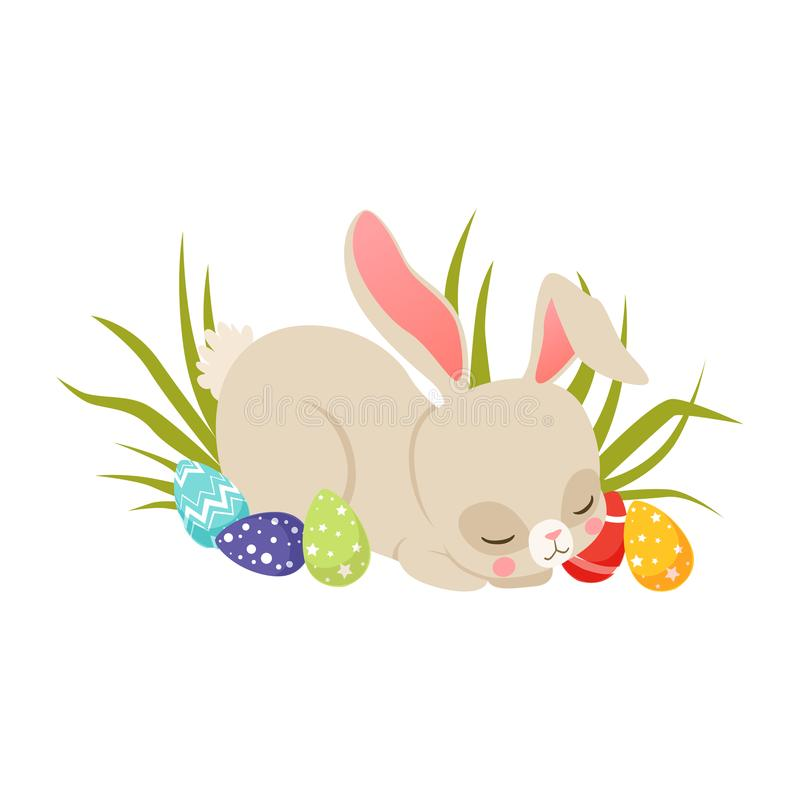 Cute cartoon bunny sleeping on the grass among colorful eggs, funny rabbit character, Happy Easter concept cartoon stock illustration