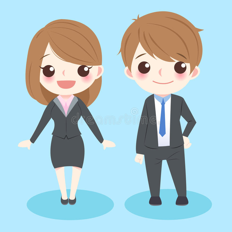 Cute cartoon business people royalty free illustration