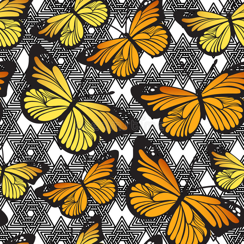 Cute cartoon Butterflies on doodle black and white geometrical line texture. Vector. Butterfly seamless hand drawn pattern. Cute cartoon insects on doodle black royalty free illustration