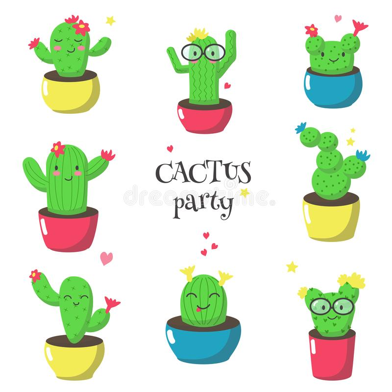 Cute funny cartoon cactuses, vector isolated illustration royalty free illustration