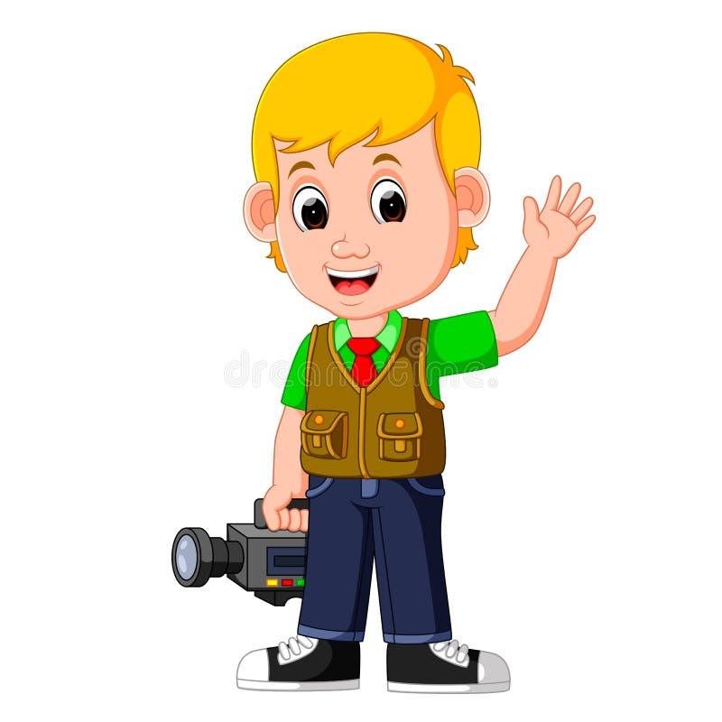 Cute cartoon a cameraman. Illustration of Cute cartoon a cameraman vector illustration