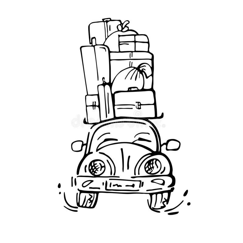 Cute cartoon car travels with many suitcases on the roof. stock illustration