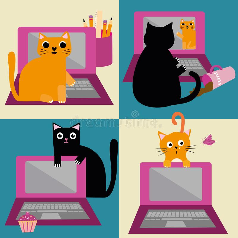 Free Cute Cartoon Cat And Laptop Vector Seamless Pattern Background. Ginger And Black Felines Interrupting Business Office Royalty Free Stock Photography - 178336137