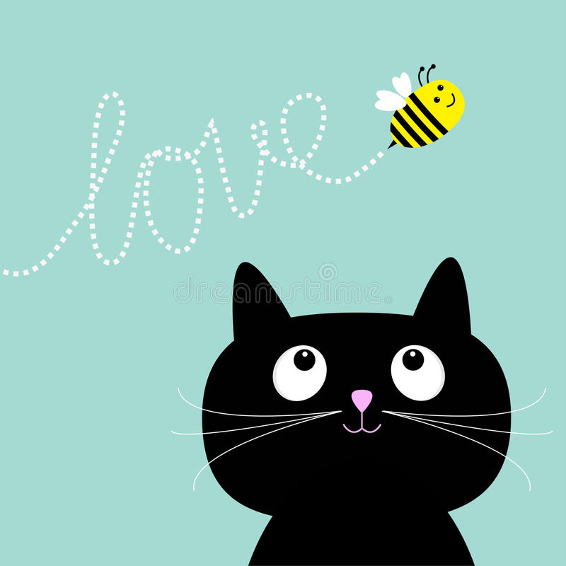 Cute cartoon cat. Bee dash line love Flat design style. royalty free illustration