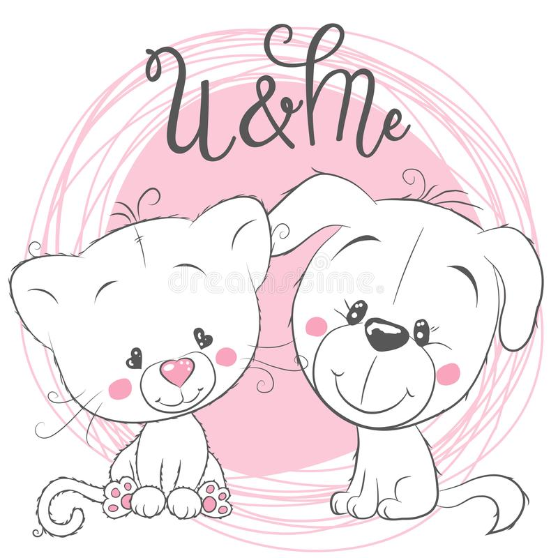 Cute Cat and Dog on a pink background vector illustration