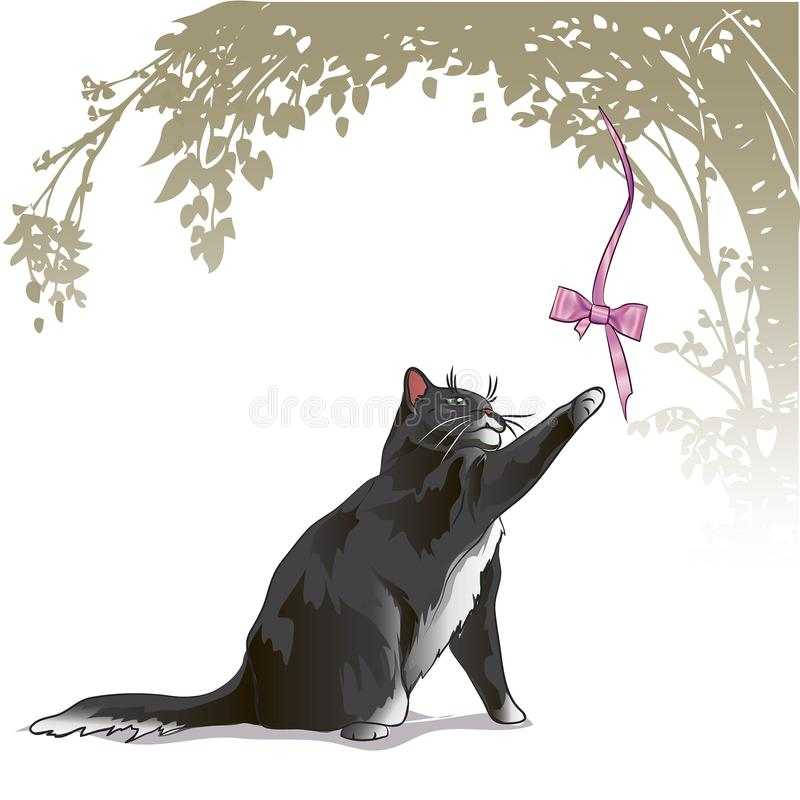 Cute cartoon cat playing with bow. kittens looking up to bow royalty free illustration