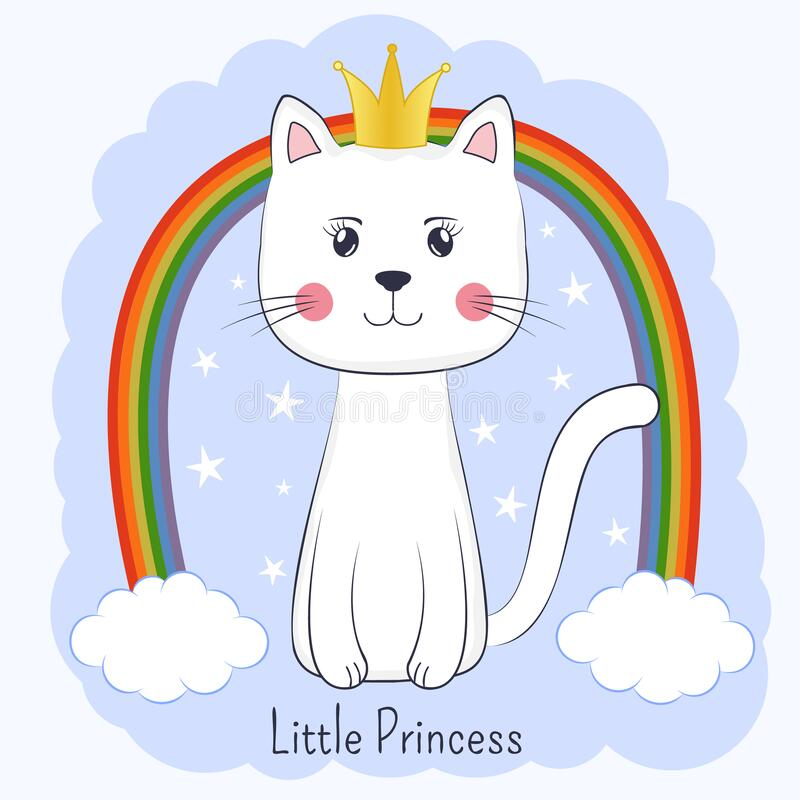 Cute Cartoon Cat Princess And Rainbow Pretty Kitty With Crown Stock Vector Illustration Of Design Cool 175677020 Christ this took way longer then it should of. dreamstime com