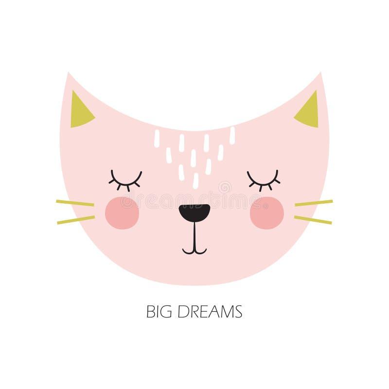 Cute cartoon cat in scandinavian style vector illustration