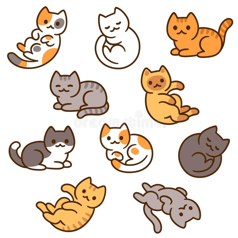 Cute Cat Black And White Doodles Set Stock Vector Illustration