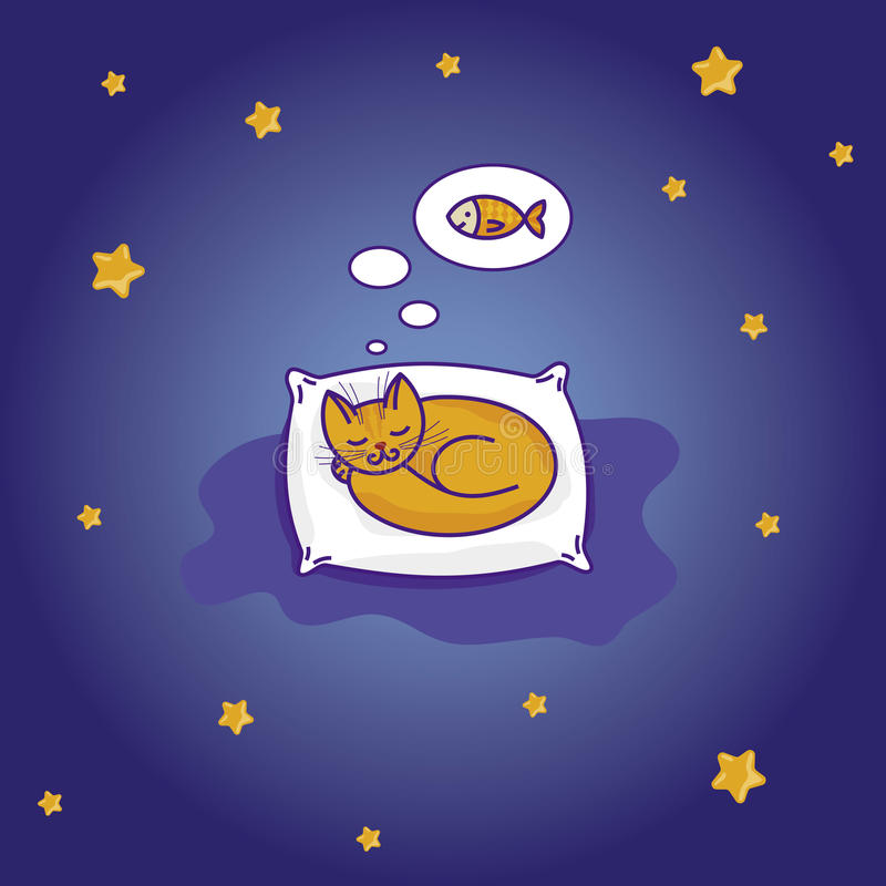 Download Cute Cartoon Cat Sleeping On The Pillow Royalty Free Stock Images - Image: 27495879