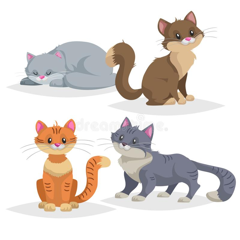Cute cartoon cats different breeds. Domestic animals set..Ginger, blue, brown cats in comic style. Vector illustrations collection royalty free illustration