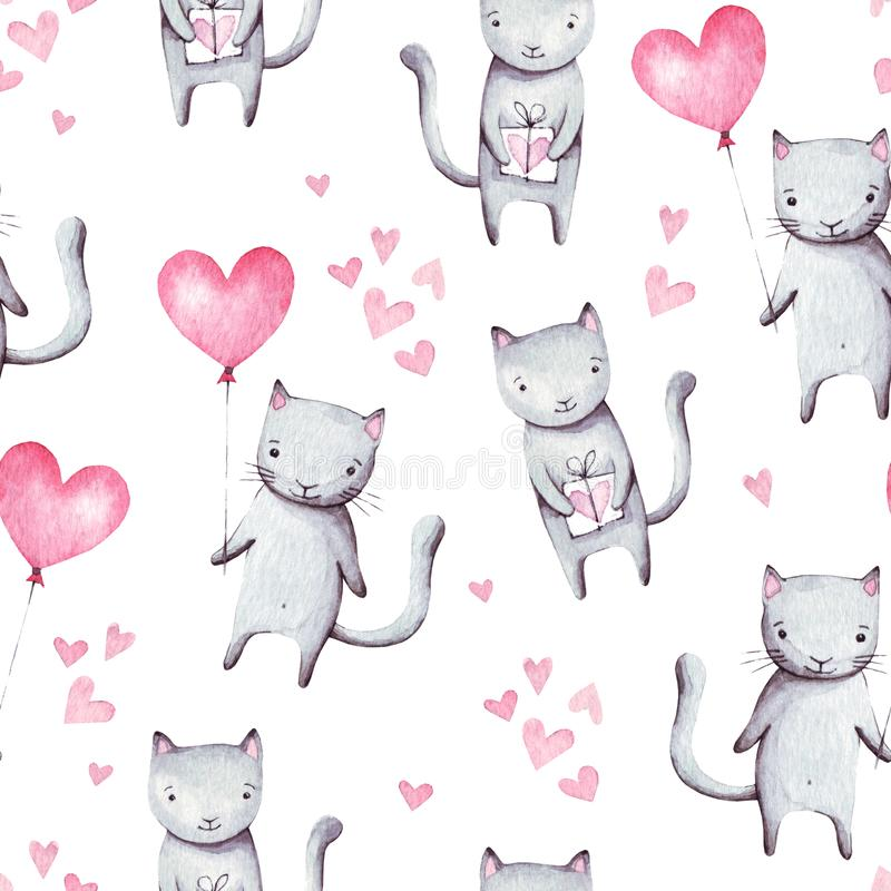 Cute cartoon cats with pink balloon heart shape and gift. Hand drawn abstract watercolor seamless pattern. Valentine`s day backgro royalty free illustration