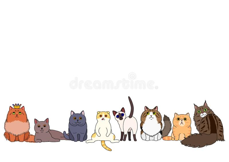 Cute cartoon cats sitting in a row. Various cute cartoon cats in a row, for pets border or banner use vector illustration