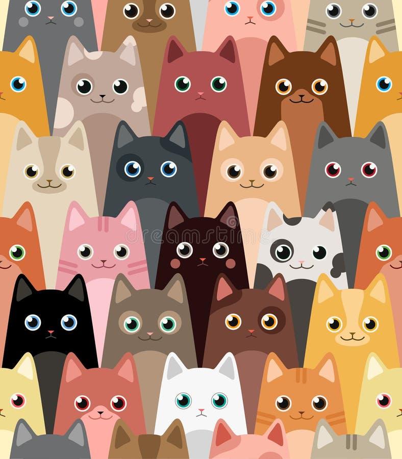 Cats. Cartoon vector seamless wallpaper. vector illustration