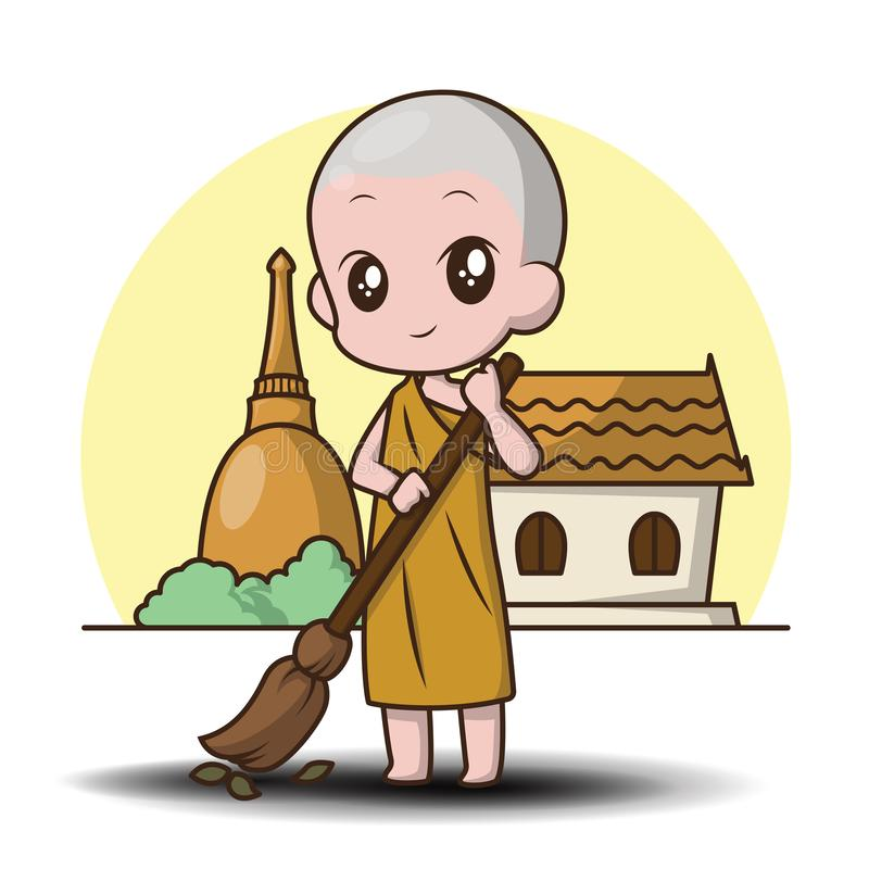 Cute Cartoon character Little monk stock illustration