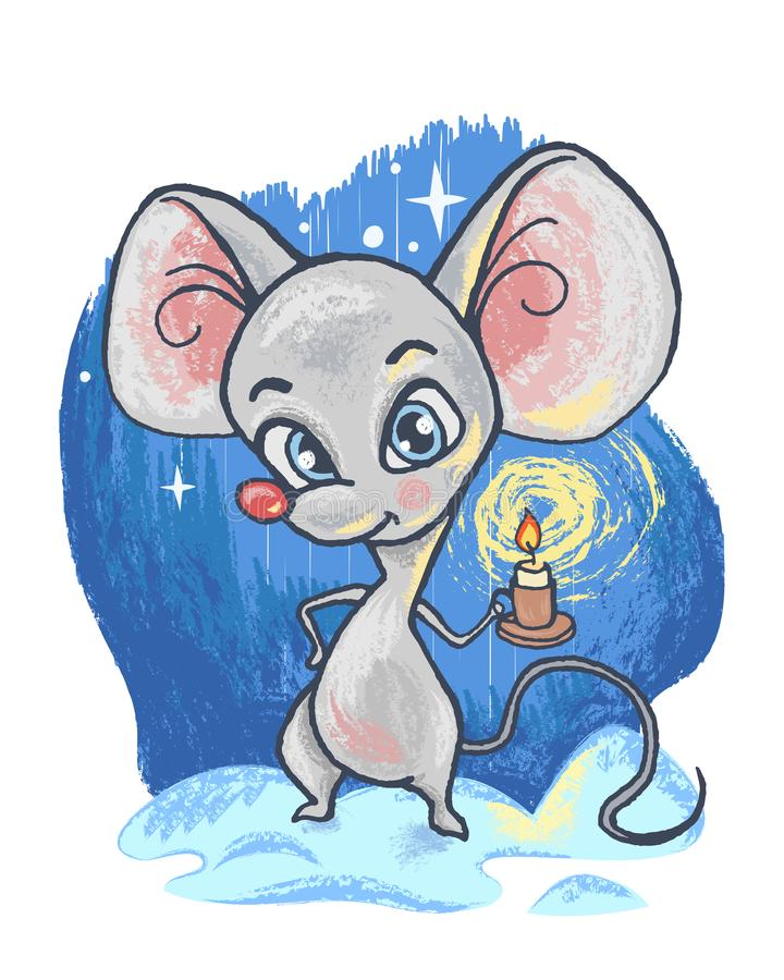 Cute cartoon character mouse. Imitation of pencil drawing. vector illustration