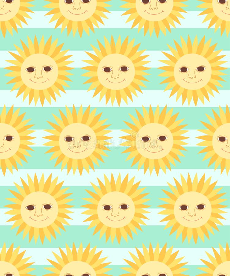 Cute cartoon character sun seamless pattern on striped background stock illustration