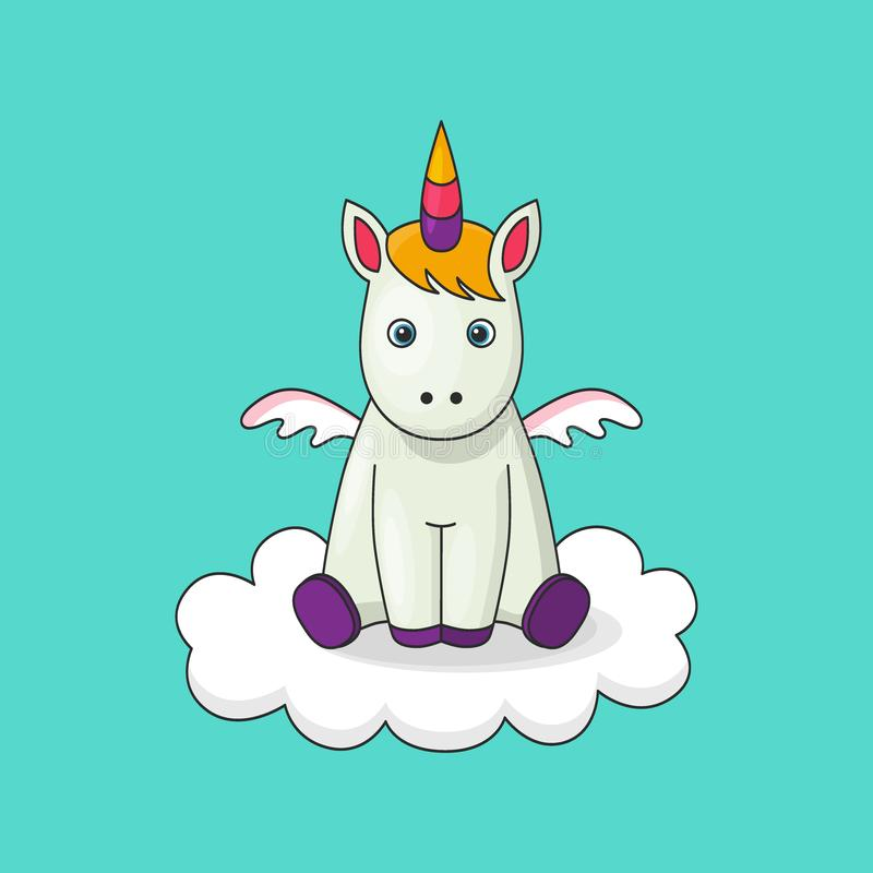 Cute cartoon character unicorn. Print for Baby Shower, little girl birthday, other holiday party. Greeting card template stock illustration