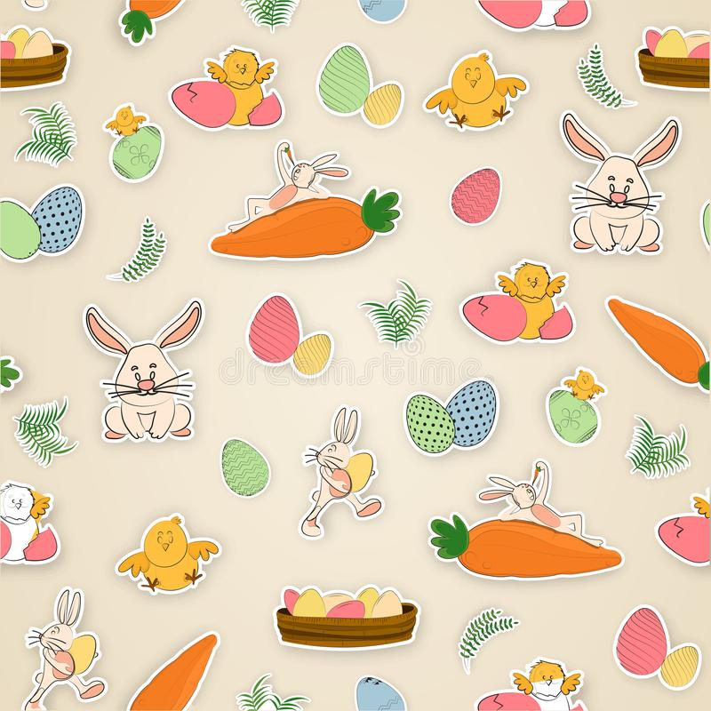 Cute cartoon characters including bunny, chicken, hen and egg for Easter Celebration. royalty free illustration