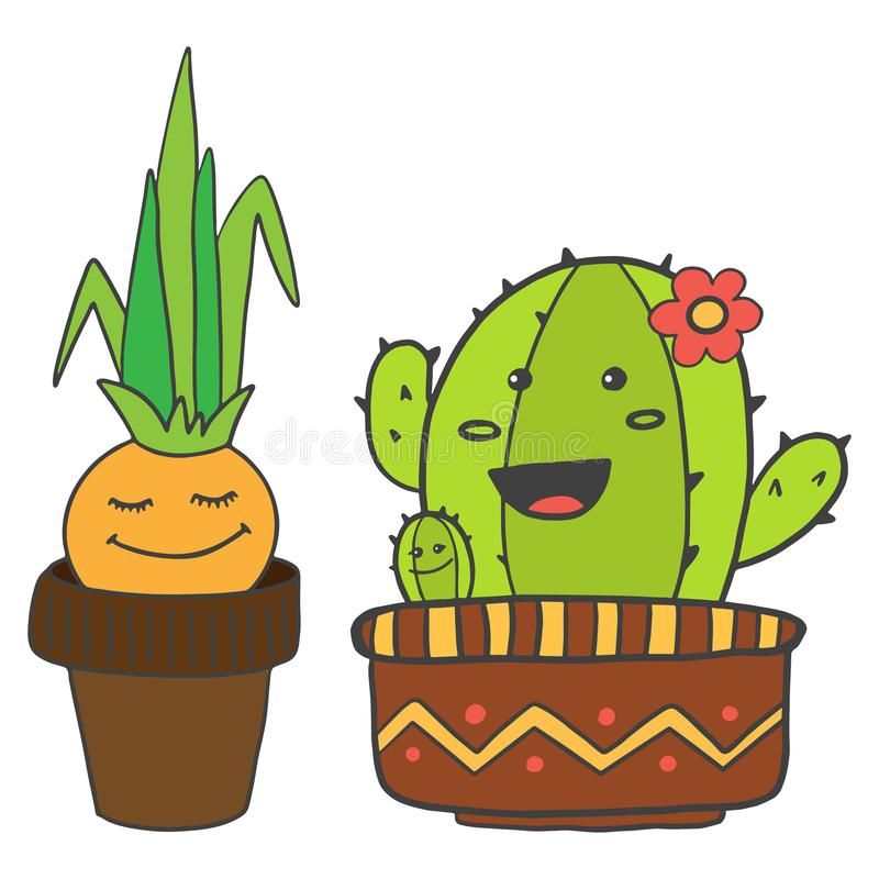 Cute cartoon characters. Onions and cactus in flower pots are smiling, isolated on white background stock illustration