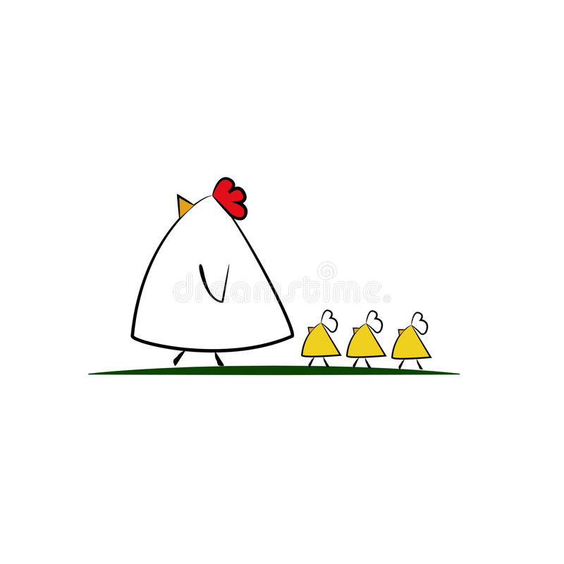 Cute cartoon Chicken family vector illustration
