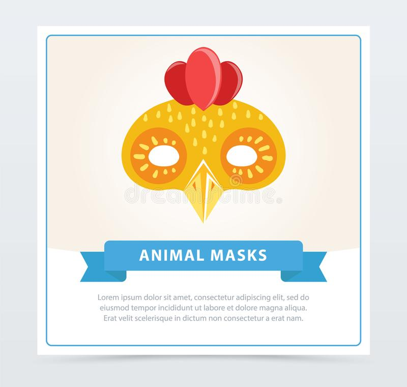 Cute Cartoon Chicken Mask. Colorful Element For Children S ...