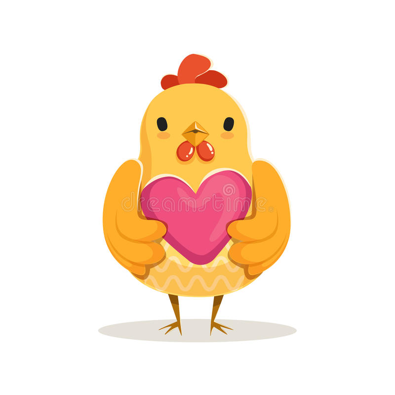 Cute cartoon chicken standing and holding pink heart colorful character vector Illustration stock illustration
