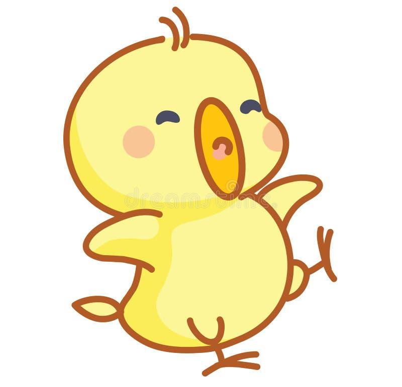 Cute cartoon chicks posing vector illustration