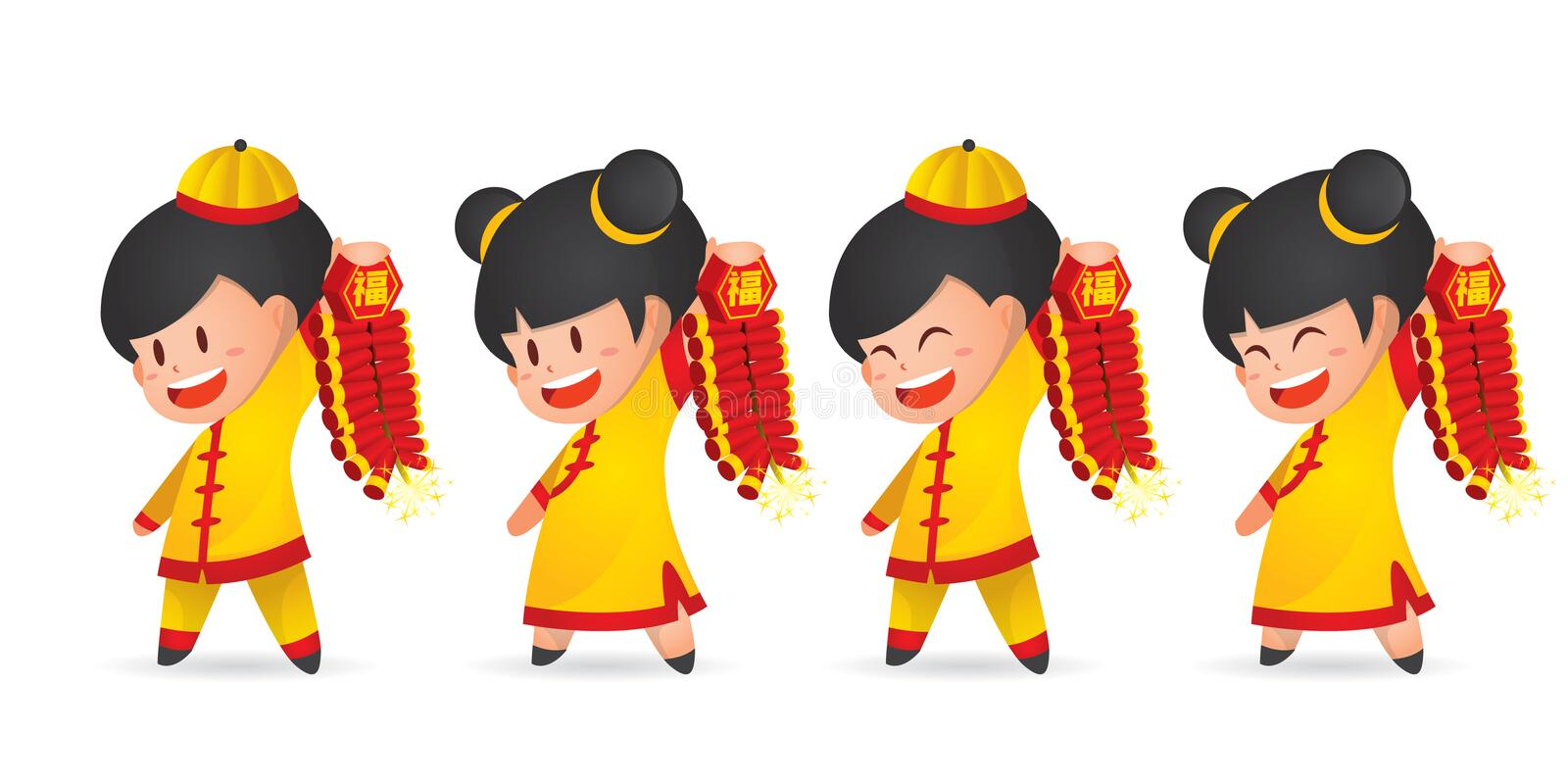 Cute cartoon Chinese New Year boy and girl having fun with firecracker, isolated on white. vector illustration