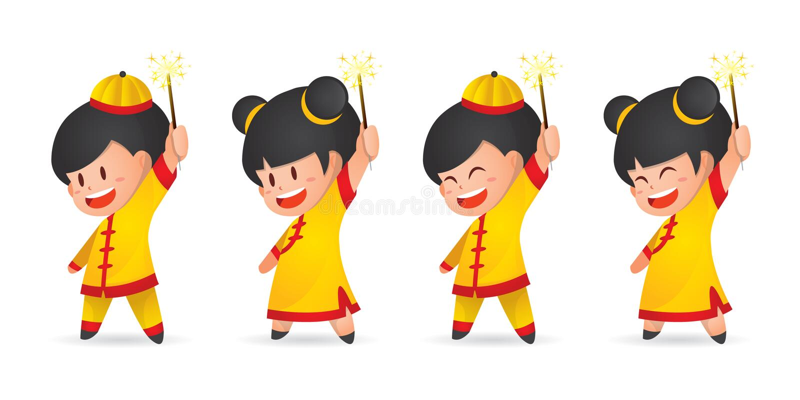 Cute cartoon Chinese New Year boy and girl having fun with sparklers, isolated on white. vector illustration