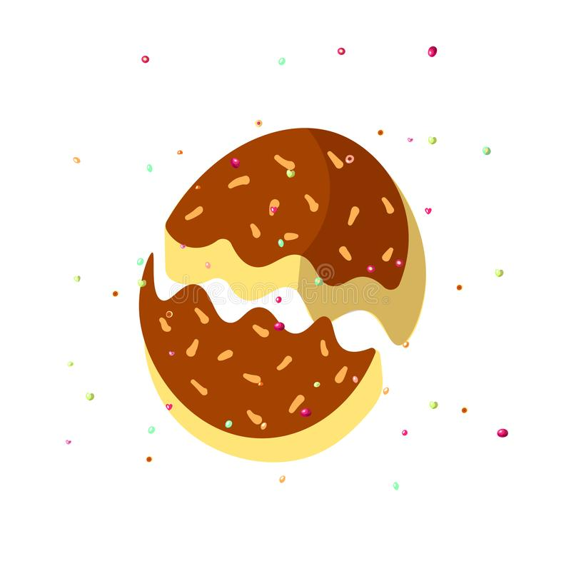 Cute cartoon chocolate biscuit, cookie on white background with sprinkles. Chocolate cookies, cartoon vector. Illustration. Chocolate biscuit with sprinkles vector illustration