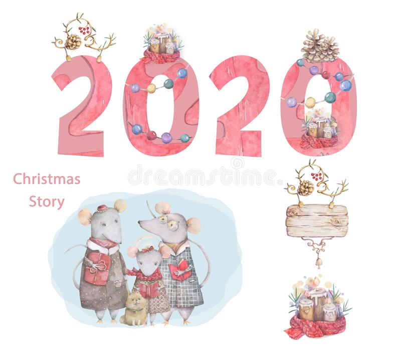 Cute cartoon christmas rat mouse christmas card. Watercolor hand drawn animal illustration. New Year 2020 holiday drawing. Cute cartoon christmas rat mouse vector illustration